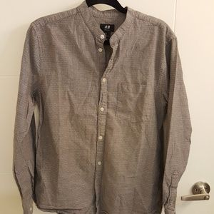 H&M Grey Collarless Shirt